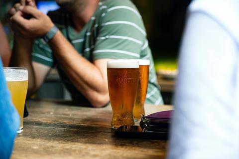 Pub garden beer pints
