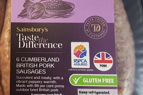 RSPCA Assured Sainsburys sausages