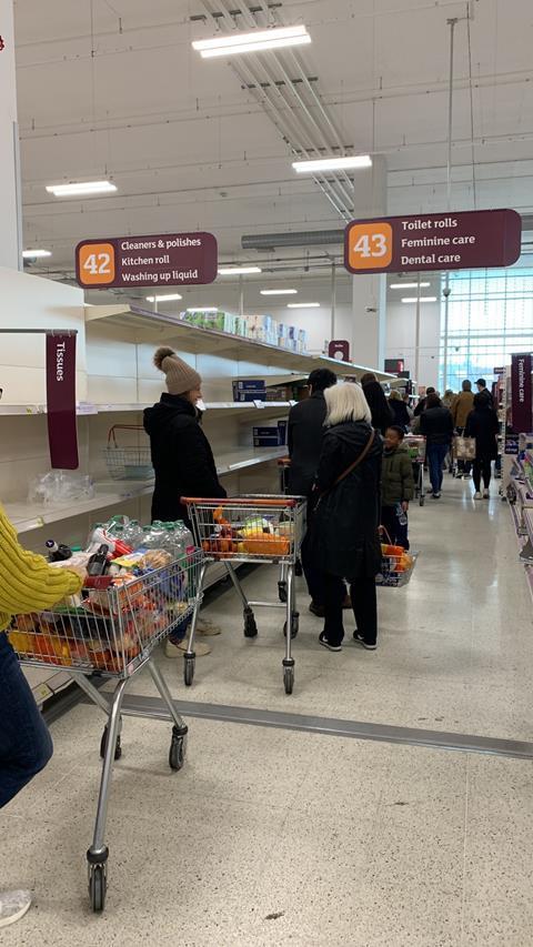 Sainsburys coronavirus panic buying