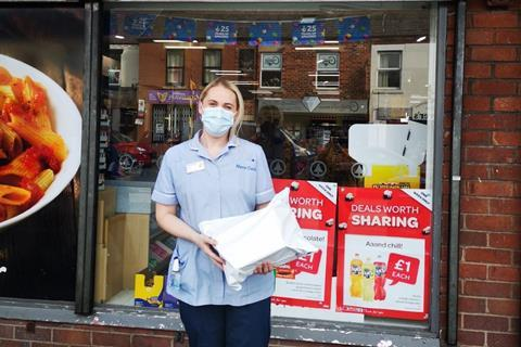Marie Curie Nurse Flora Snape collecting PPE from SPAR Leyland