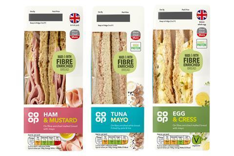 Co-op - Ham & Mustard Sandwich - Fibre Enriched Bread copy