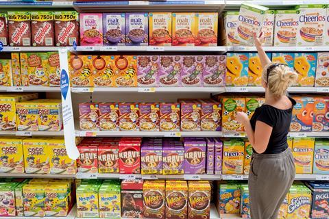 tesco cereal aisle customer