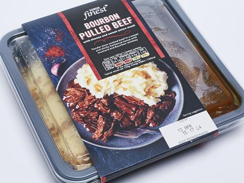 Tesco Finest Bourbon Pulled Beef With Cheese Sweet Onion