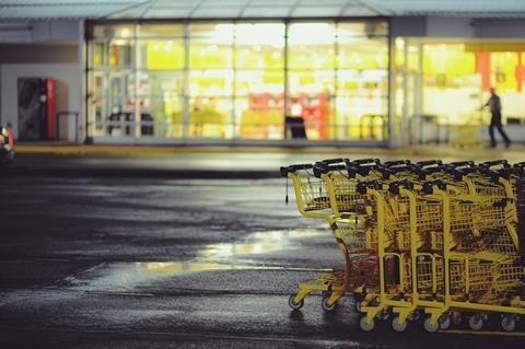supermarket trolleys night