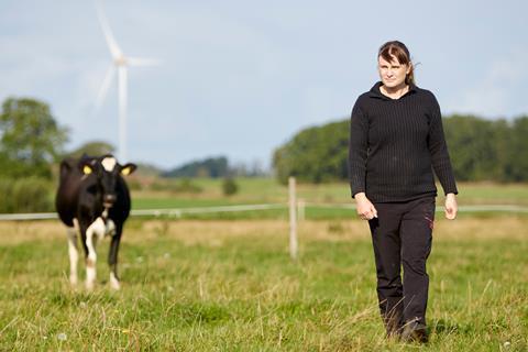 Helene Gunnarson with cow