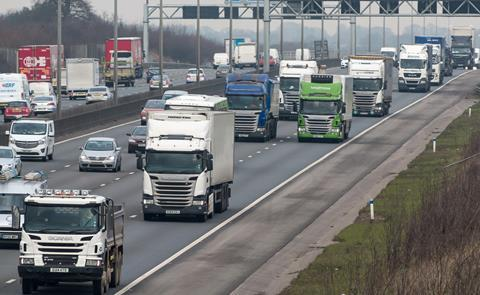 lorries traffic motorway road