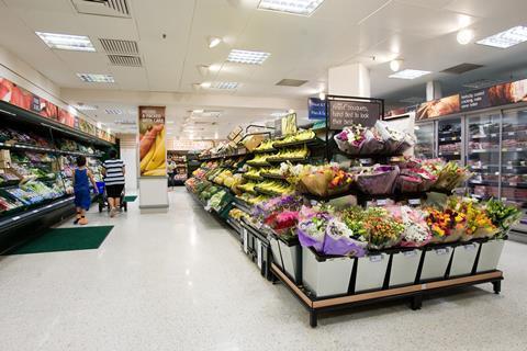Tesco Metro flowers fruit and veg aisle