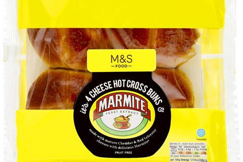 Packshot - Cheese Hot Cross Buns & Marmite